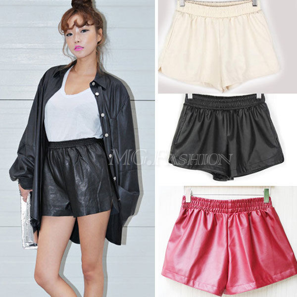 Women wild pu leather pants shorts with pockets