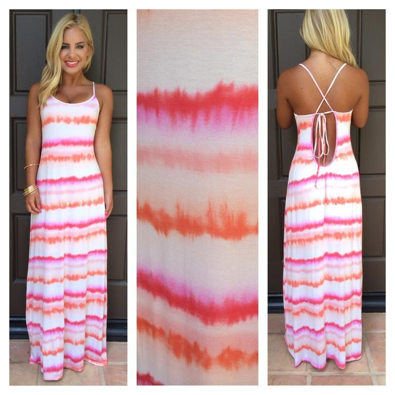 Pink Orange & White Tie Dye Maxi Dress
