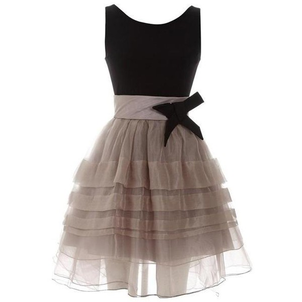 Elegant Pompon Dress with Bow - Polyvore