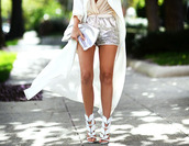 shorts,silver shorts,sandals,sandal heels,high heel sandals,white sandals,duster coat,coat,clutch,silver clutch,metallic clutch,metallic shorts,metallic,short,short shorts,glitter,glitter shorts,casual,casual chic