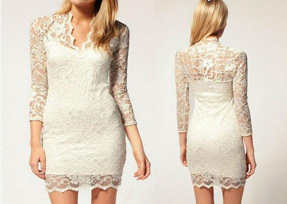 Fashion White Black Sex Women Ladies V neck Mini Slim Lace Dress Clubwear 3/4 Sleeve E0325-in Dresses from Apparel & Accessories on Aliexpress.com