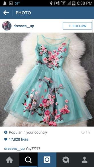 dress light blue pink flowers