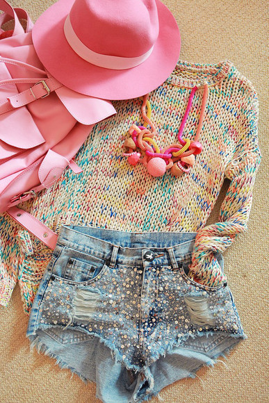 denim shorts shorts hat i4out sweater look lookbook fashion clothes clothing pink ripped jeans