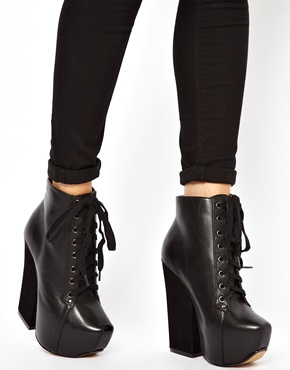 Shellys London | Shellys Komendova Black Platform Heeled Ankle Boots at ASOS