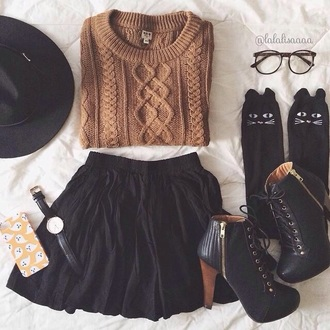 blouse brown sweater black skirt skirt black skater skirt black skater skirt sweater knitted sweater heels laceup lace up boots black booties black boots