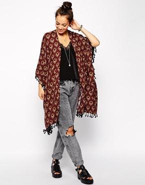 Glamorous | Glamorous Tile Print Kimono with Tassel Trim at ASOS