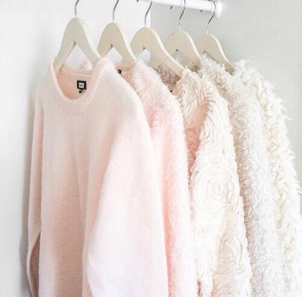 molleton mouhair doux sweater rose roses fleurs cotton coton pink white blanc winter sweater autumn/winter girly girl fashion pastel