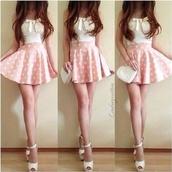 dress,white,pink,mini dress,shoes,skirt,pastel skirt,pastel pink skirt,pastel,pastel pink,heart,pink skirt,blouse,bag