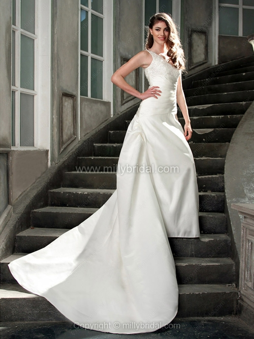 A-line V-neck Satin Chapel Train Lace Wedding Dresses - www.millybridal.org