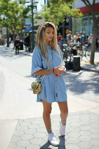 dress t- shirt dress shirt dress gold gold purse crossbody bag vans puma shoes white high top sneakers white shoes