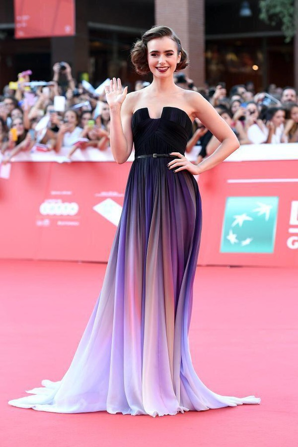 ombre purple red carpet dress make-up dress strapless dress formal dress purple dress silk lipstick hairstyles black white and colors purple and black dress lily collins prom