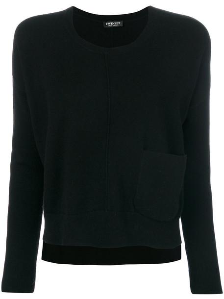 Twin-Set - pocket detail jumper - women - Polyamide/Viscose/Wool/Cashgora - XL, Black, Polyamide/Viscose/Wool/Cashgora
