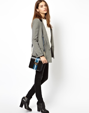 ASOS | ASOS Leather Cross Body Bag With Panelling at ASOS