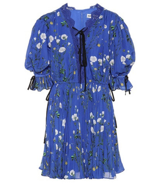 Self-Portrait Exclusive to mytheresa.com – Floral-printed crêpe minidress in blue