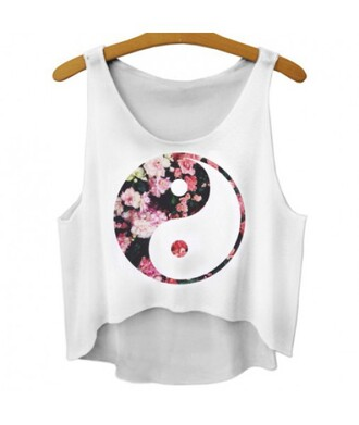 tank top yin yang summer floral comfy white trendy fashion hot cool stylish it girl shop