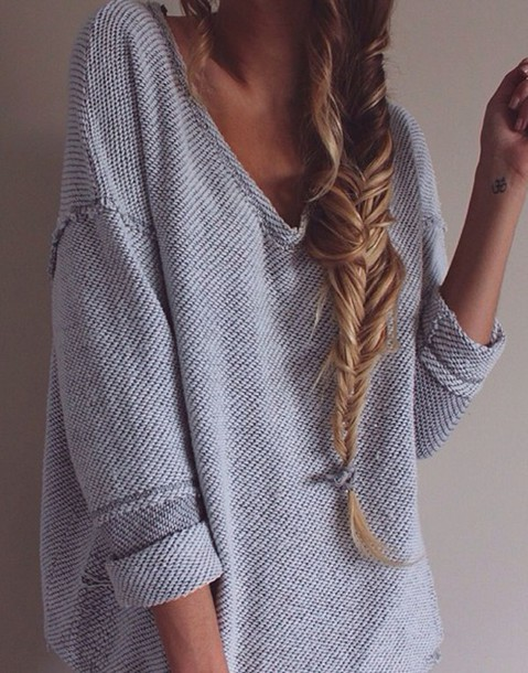 Baggy Sweaters - Gray Cardigan Sweater