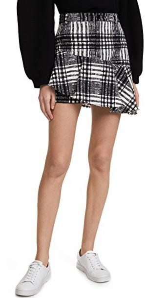 miniskirt ruffle white black skirt