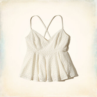blouse lace crochet peplum cami crossback