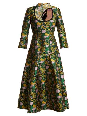 dress rose jacquard print green