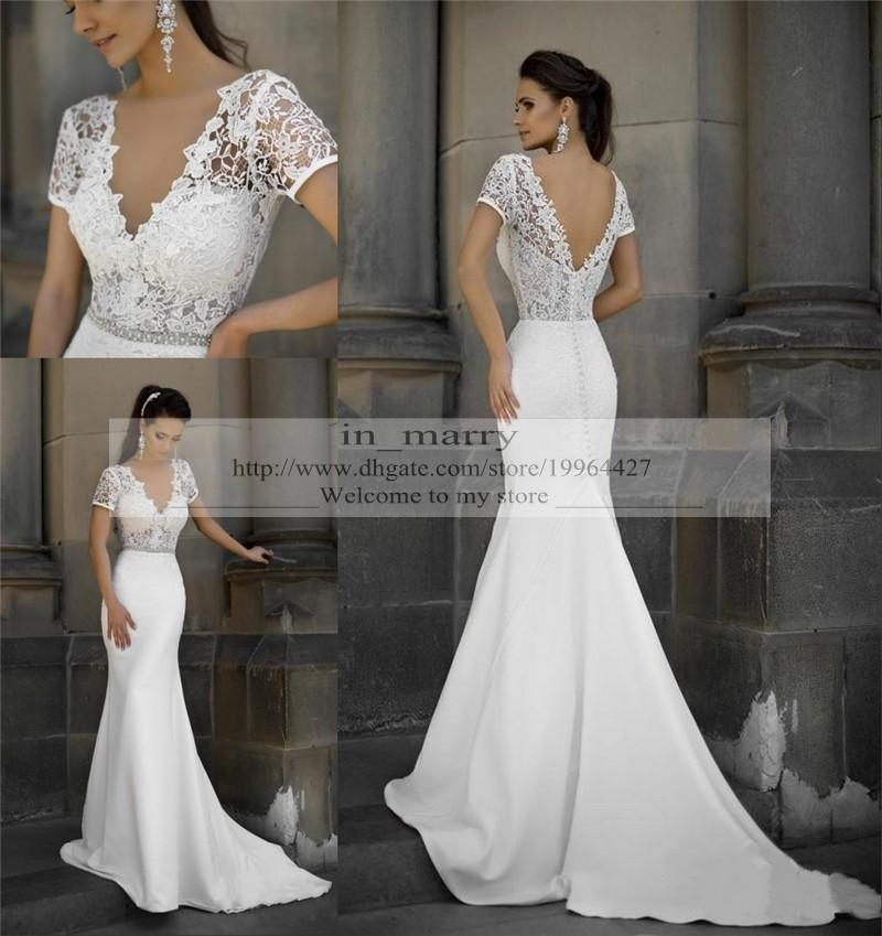 Plus size mermaid vintage lace wedding dresses fitted 2015 for Satin mermaid style wedding dresses