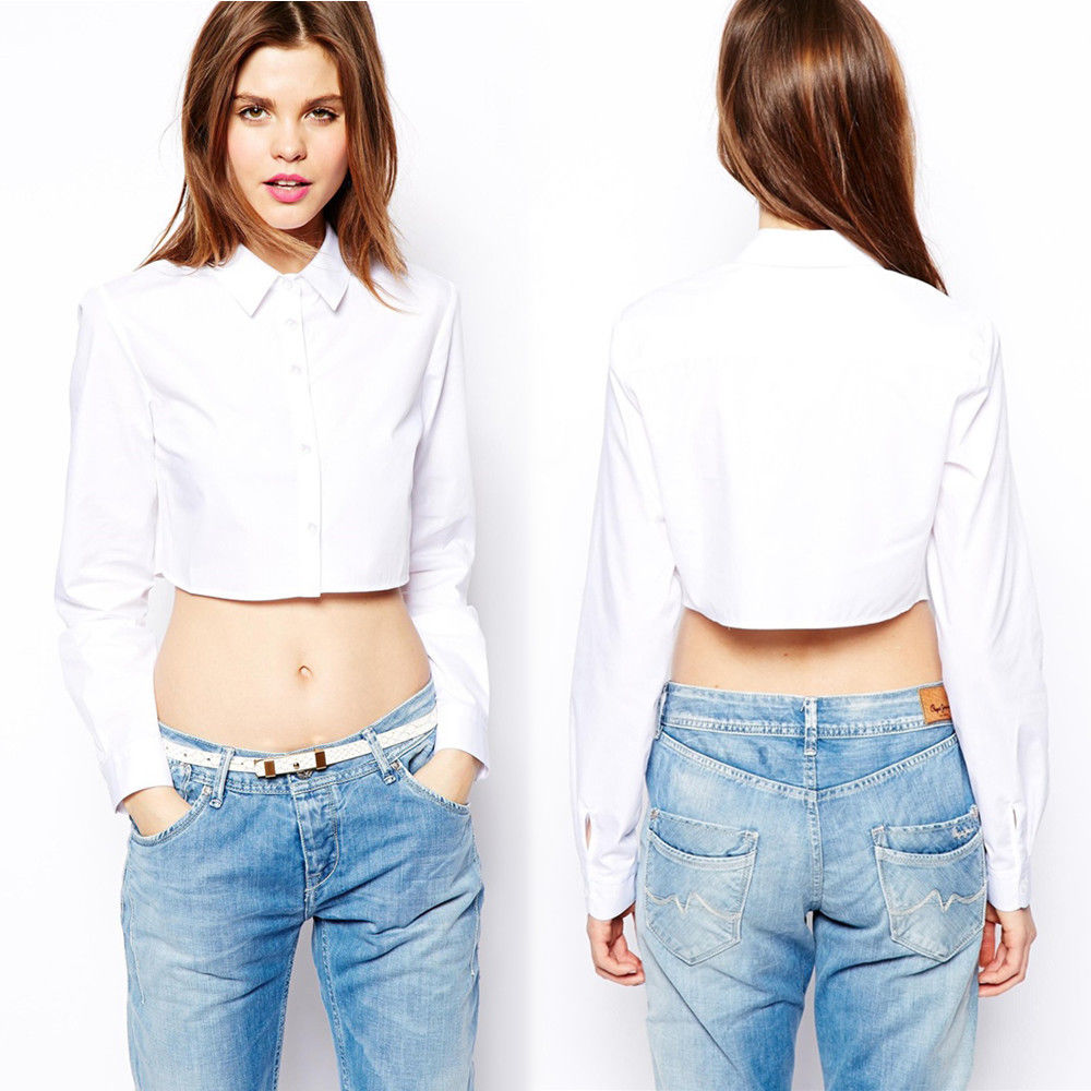 b87e8ced14fe3 Chic Fashion Women Button Down Long Sleeve Short Casual Blouse ...