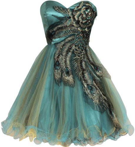 Metallic Peacock Embroidered Holiday Party Prom Dress Junior Plus Size, Size: 2X, Color: Turquoise | OnlineGrocery.co