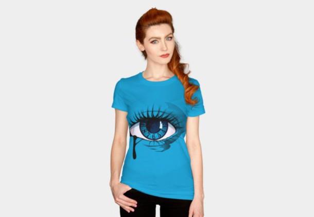 shirt eye blue eye clock surrealism illustration illustrative vector line art women's t-shirt mens t-shirt colorful shirt teardrop