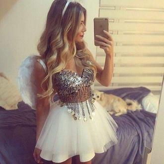 top carnaval angel costume glitter top skirt angel costume wings jeans tommy hilfiger pink lv chanel make-up glitter dress tutu dress paillettes