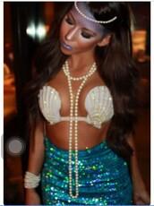 skirt,halloween,mermaid,sexy halloween costume,top