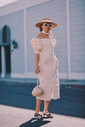 dress,spring dress,shoes,scarf,midi dress,white dress,off the shoulder,off the shoulder dress,spring outfits,polka dots,hat