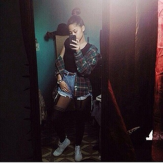 dope trill baddies tights boots shirt flannel scarf flannel shirt high waisted shorts