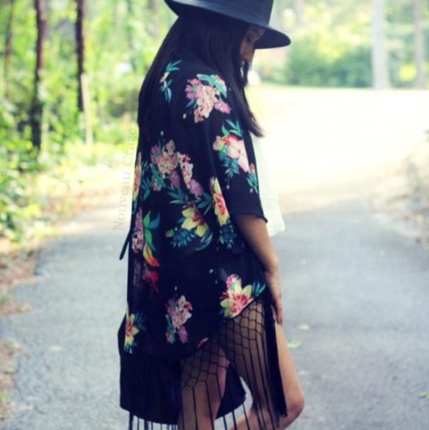 Secret garden floral print black kimono cardigan · nouveau craze · online store powered by storenvy