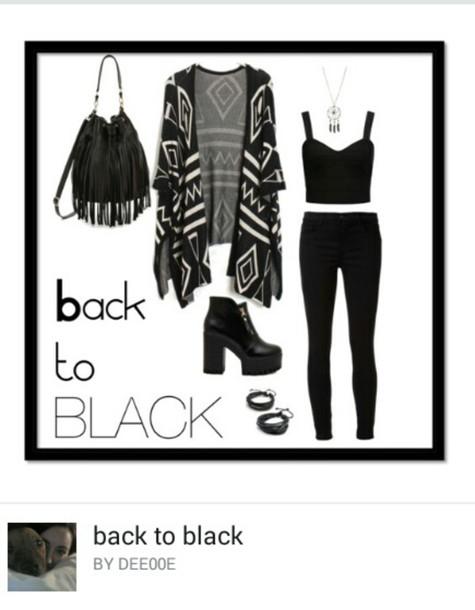 cardigan black cardigan patterned cardigan black jeans black shoes black black crop top crop tops