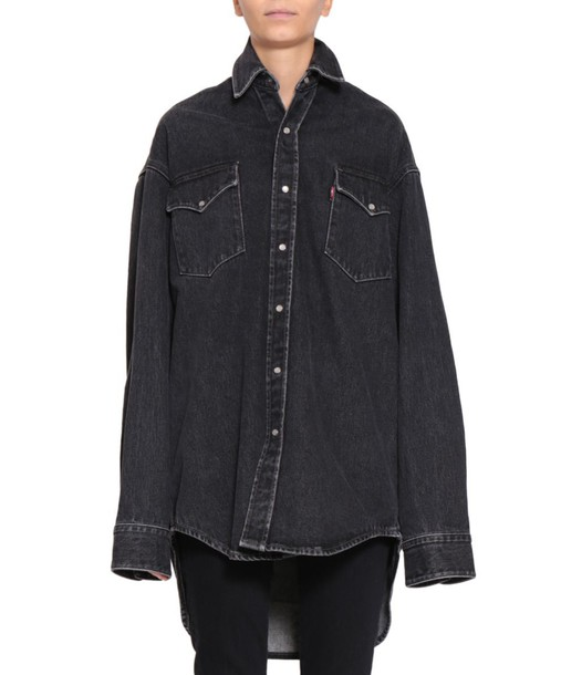 Vetements shirt oversized shirt denim oversized cotton top