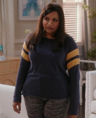 top t-shirt stripes long sleeves blue yellow the mindy project mindy kaling mindy lahiri