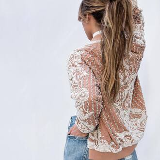jacket tumblr bomber jacket nude jacket nude embellished embellished jacket jeans blue jeans ponytail long hair pastel pastel jacket pearl embroidered embroidered jacket peach boho chic jewels jewelry necklace choker necklace white chokers