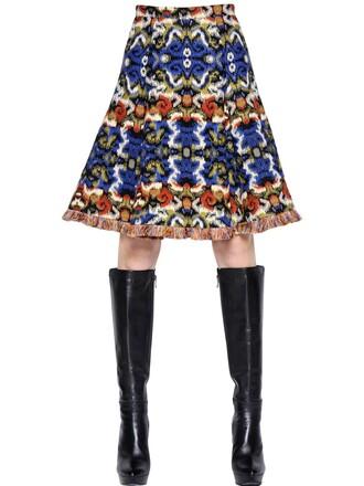 skirt jacquard wool blue