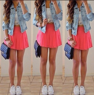 skirt skater skirt pink pink skirt crop tops bag t-shirt sweater shoes shirt coral beautiful skirt pretty want this short love dress jacket peach skirt denim tank top blouse lace denim jacket coral skirt lacey blouse selfie purse