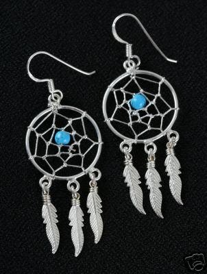 Sterling silver & turquoise dream catcher earrings #x60