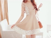 dress,beige dress,cute dress,beige,ulzzang,cute outfits,lace,lace dress,kawaii,kawaii outfit,korean fashion,fashionista,sweetheart dress,pastel,sweet