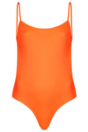 **Fluro Orange Backless Swimsuit by ASHISH X Topshop - Topshop USA