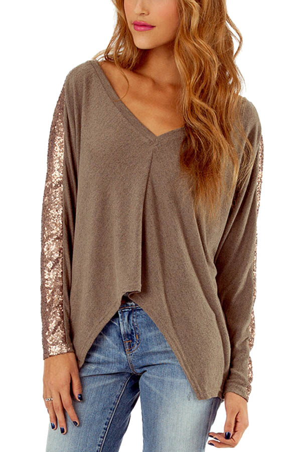Camel v neck sequin decor asymmetrical hem t
