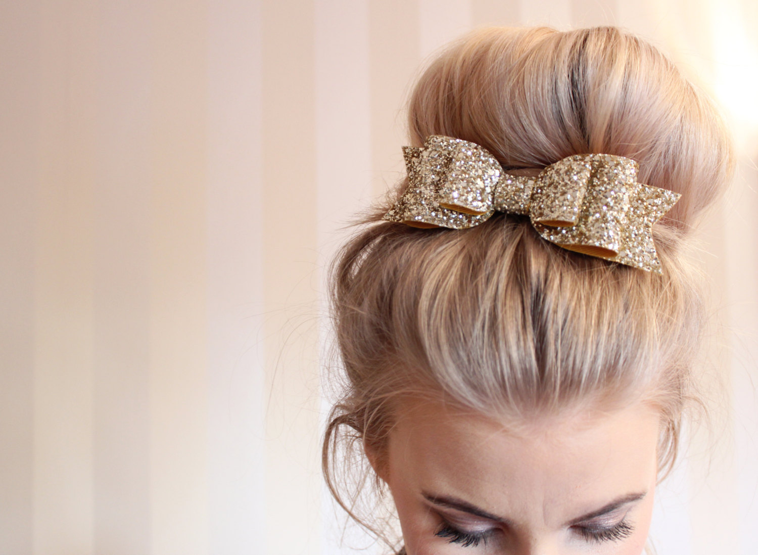 Girl and adult oversized gold glitter fabric bow hair clip