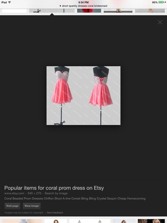 dress sequined short coral dress
