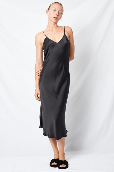 4582dca085f Clic 90 S Black Silk Slip Dress. Racquel Silk Slip Dress. Racquel Silk Slip  Dress In True Black Modeled Crocodile Print