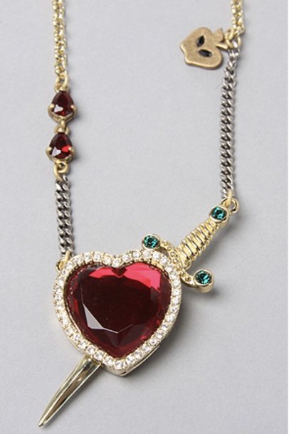 jewels heart gold knife sword ruby emerald green diamonds necklace pendant silver