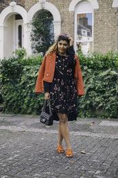 she wears fashion,blogger,dress,jacket,sunglasses,bag,fall outfits,red jacket,chanel bag,sandals