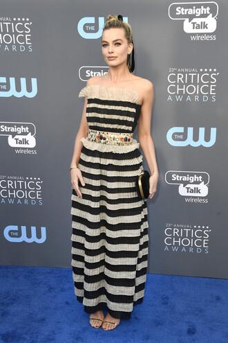 dress stripes striped dress margot robbie sandals strapless shoes