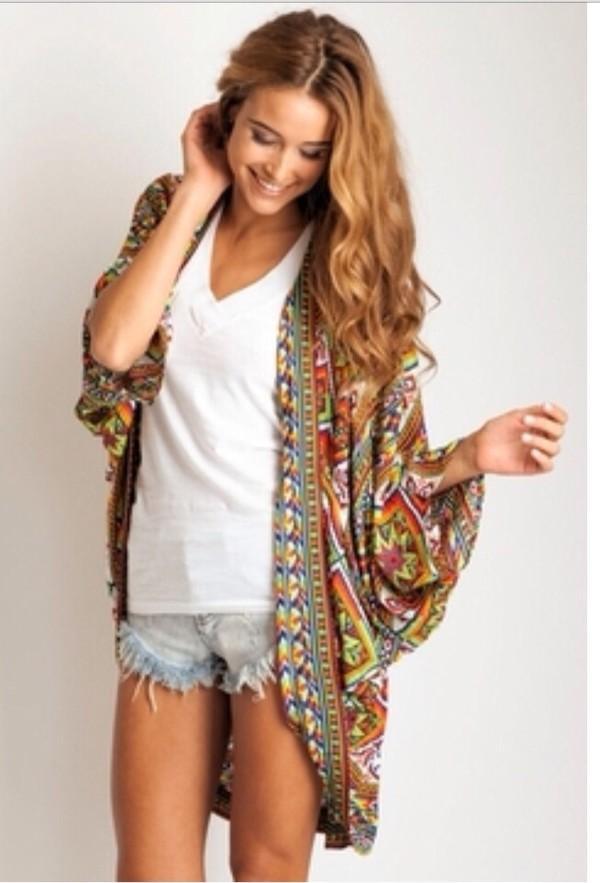 cardigan colorful kimono
