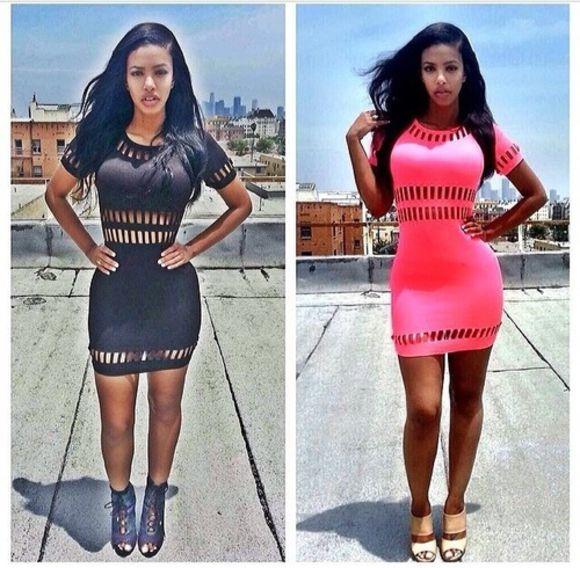 dress bodycon dress pink dress black